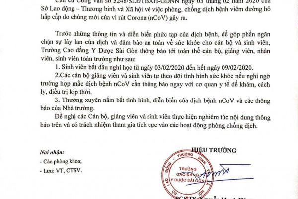 truong-cao-dang-y-duoc-sai-gon-thong-bao-khan-nghi-hoc-de-phong-tranh-virus-corona